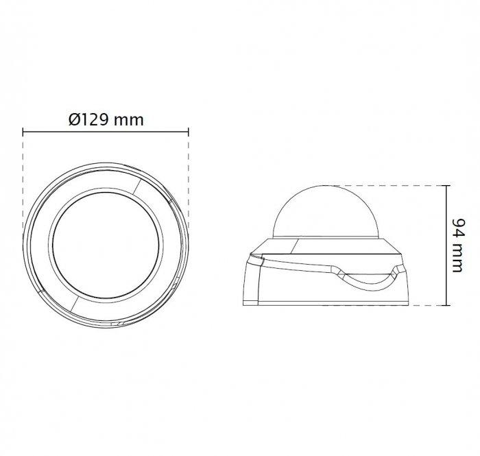 Vnitřní IP kamera VIVOTEK FD8169A rozměry