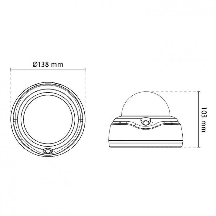 Vnitřní IP kamera VIVOTEK FD816BA-HF2 rozměry