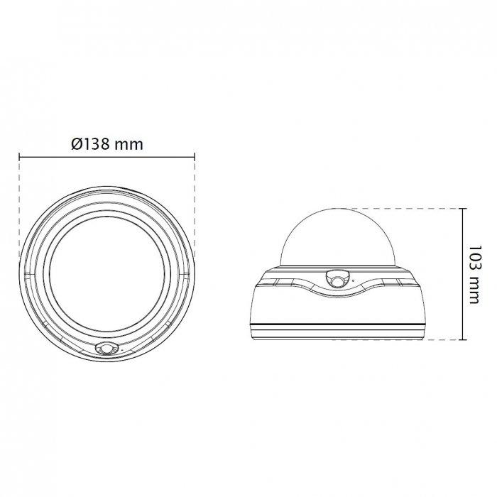 Vnitřní IP kamera VIVOTEK FD8182-T rozměry