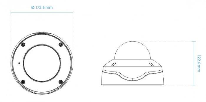Vnitřní bezpečnostní IP kamera VIVOTEK FD9167-HT-v2 rozměry