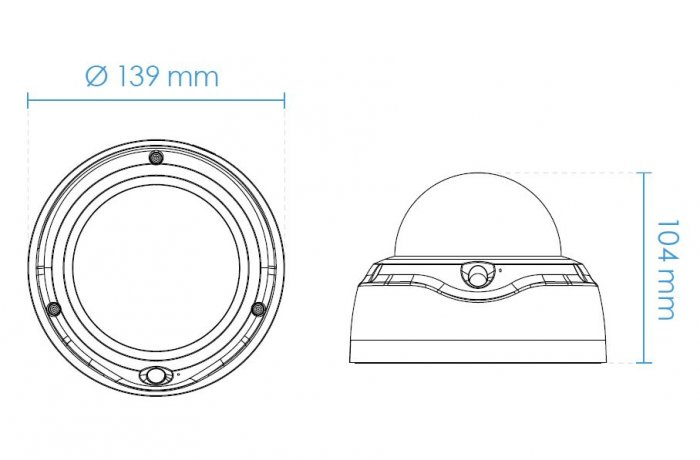 Vnitřní IP kamera VIVOTEK FD9187-HT rozměry