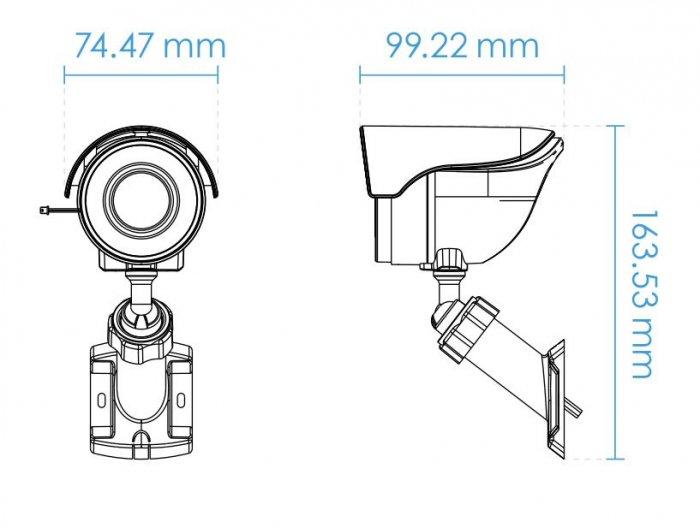 Venkovní IP kamera VIVOTEK IB8360-W rozměry