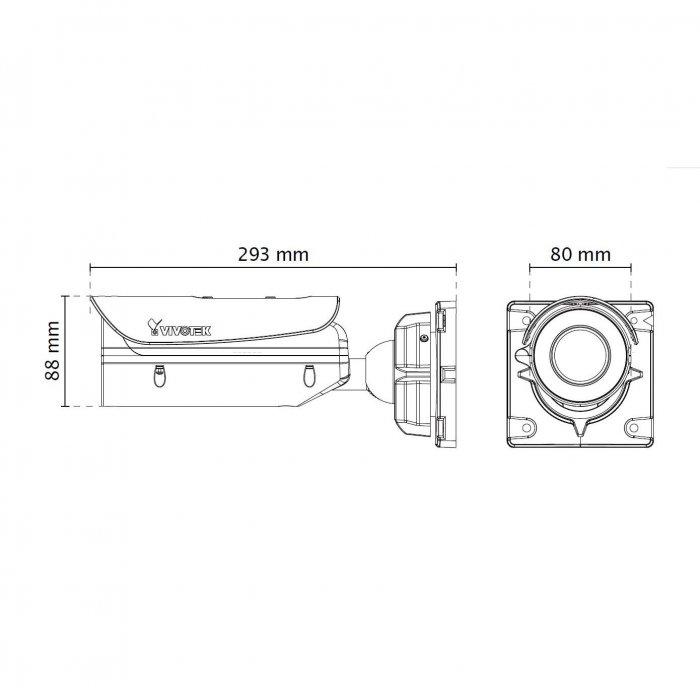 Venkovní IP kamera VIVOTEK IB836BA-HF3 rozměry