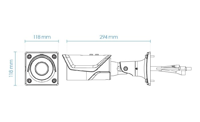 Venkovní IP kamera VIVOTEK IB8377-EHT rozměry