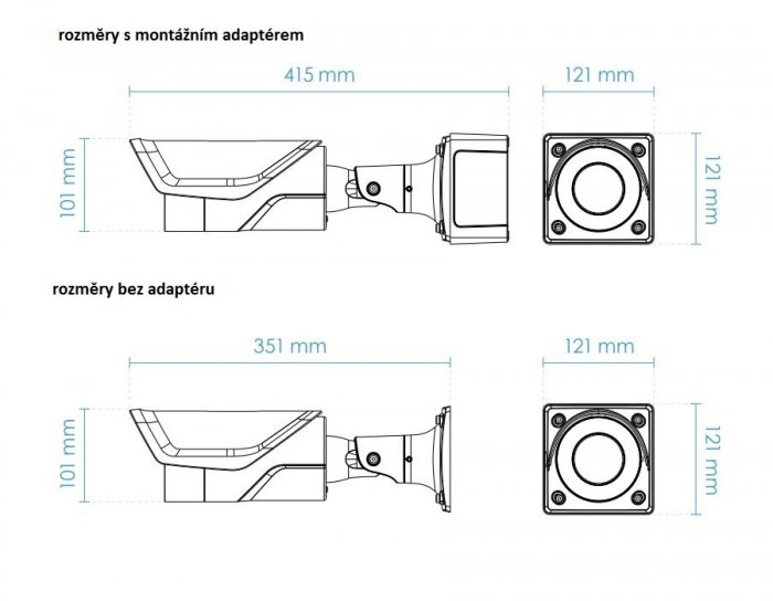 Venkovní IP kamera VIVOTEK IB9365-EHT rozměry