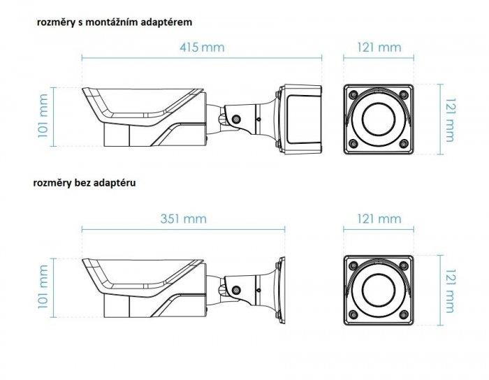 Venkovní IP kamera VIVOTEK IB9365-HT rozměry
