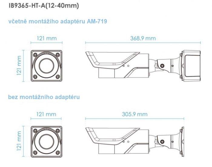 Venkovní IP kamera VIVOTEK IB9365-HT-A 12-40 mm rozměry