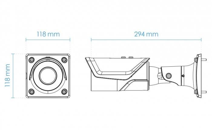Venkovní IP kamera pro čtení SPZ VIVOTEK IB9387-LPR rozměry