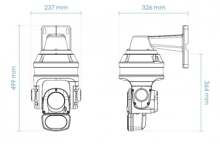 Venkovní otočná IP kamera VIVOTEK SD9363-EHL v2 rozměry