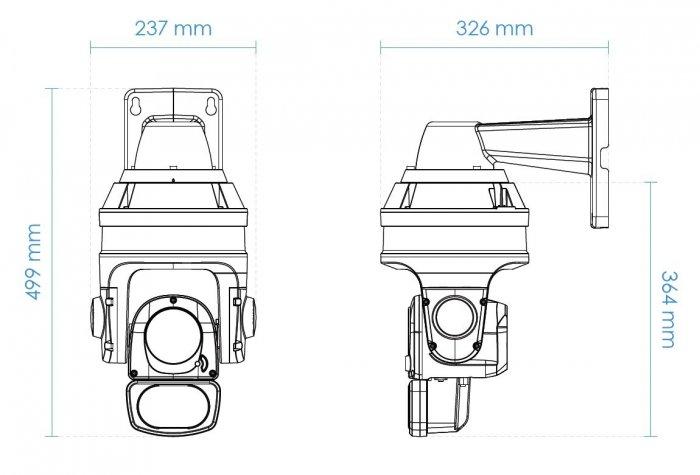 Venkovní otočná IP kamera VIVOTEK SD9374-EHL rozměry